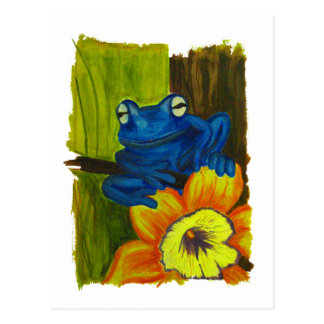 Blue frog relaxing on flower and tree branch postcard