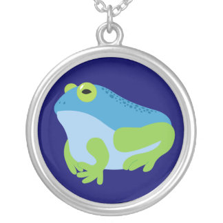 Blue Frog Round Pendant Necklace