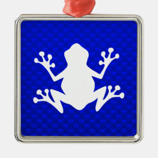 Blue Frog Silver-Colored Square Decoration