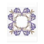 Blue Frond Fractal Art Frame Postcard