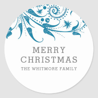 Blue Frost Merry Christmas Classic Round Sticker