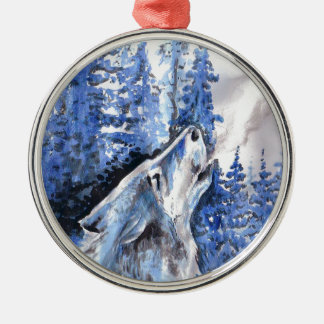 Blue Frost Wolf Winter Wolves Cold Breath Christmas Ornament