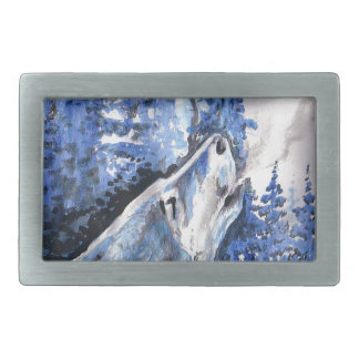 Blue Frost Wolf Winter Wolves Cold Breath Rectangular Belt Buckles