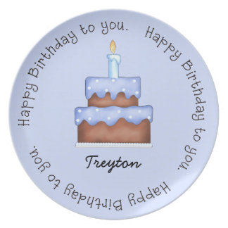 Blue Frosted Birthday Cake Plate