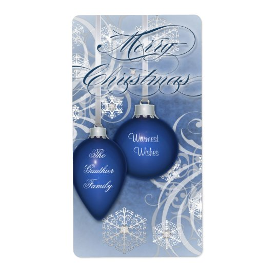 Blue Frosted Flourishes Holiday Wine Label Shipping Label
