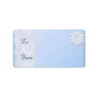 Blue Frosted Holiday Gift Labels 2