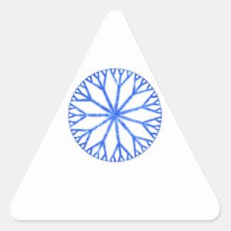 Blue Frosty Snowflake Triangle Sticker