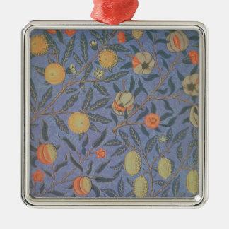 Blue Fruit' or 'Pomegranate' Silver-Colored Square Decoration