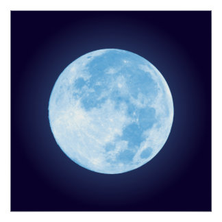 Blue Full Moon Poster