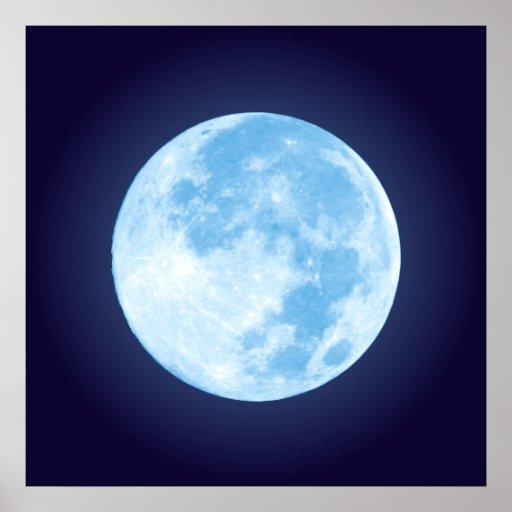 Blue Full Moon Poster