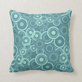 Blue Funky Circles Pattern Throw Pillow