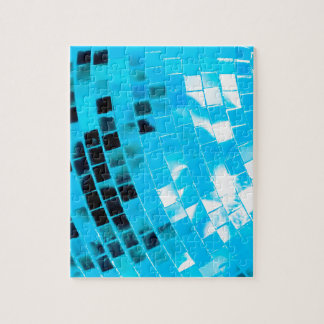 Blue Funky Disco Ball Jigsaw Puzzle