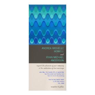 Blue Funky Waves 04 Modern Wedding Invitation