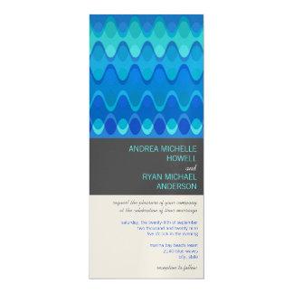 Blue Funky Waves * 04 Modern Wedding Invitation