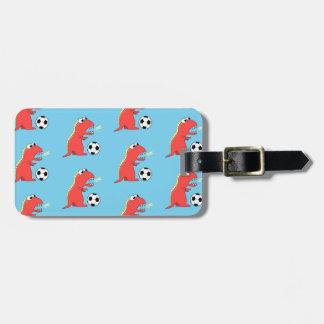 Blue Funny Cartoon Dinosaur Soccer Pattern Luggage Tag