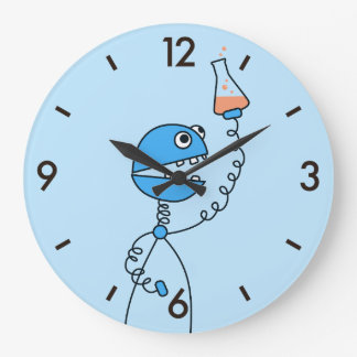 Blue Funny Cartoon Robot Chemistry Large Clock