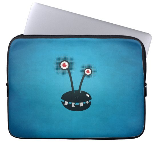 Blue Funny Halftone Cartoon Alien Laptop Sleeve