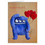 Blue Furry Love with Balloons Cards