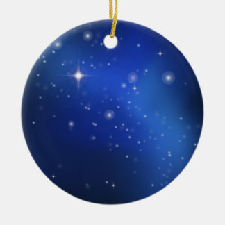 Blue galaxy round ceramic decoration