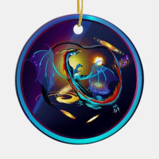 Blue Galaxy Dragon-Ornament Round Ceramic Decoration