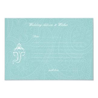 Blue Ganesha Wedding Advice & Wishes Cards 9 Cm X 13 Cm Invitation Card
