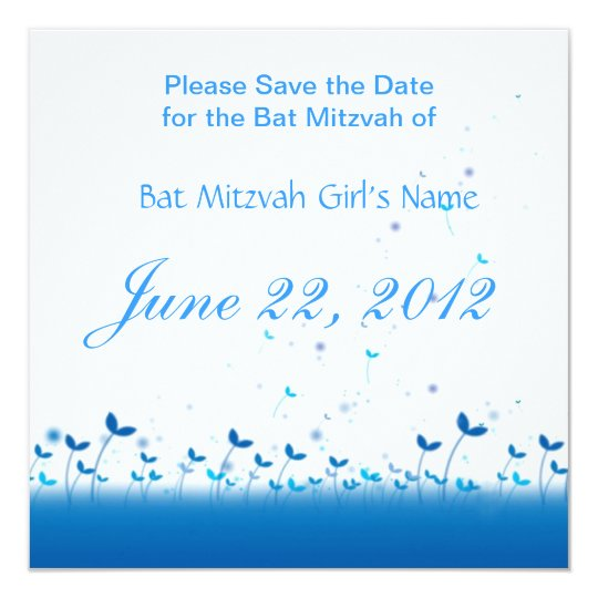 Blue Garden Bat Mitzvah Save the Date Card
