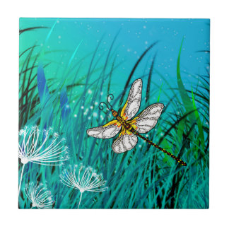 Blue Garden Dragonfly Tile