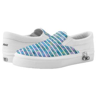 Blue Garden Stripe Slip On Canvas Shoes