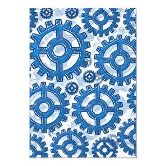 Blue gear wheels 13 cm x 18 cm invitation card