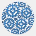 Blue gear wheels stickers