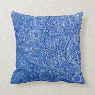 Blue Gears Throw Pillow