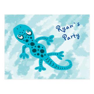 Blue Gecko Birthday Party Invite Postcard