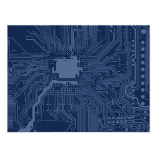 Blue Geek Motherboard Circuit Pattern Art Photo