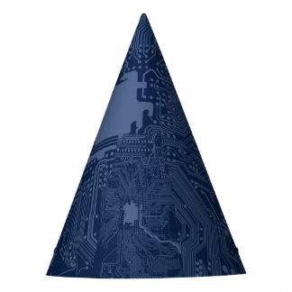 Blue Geek Motherboard Circuit Pattern Party Hat