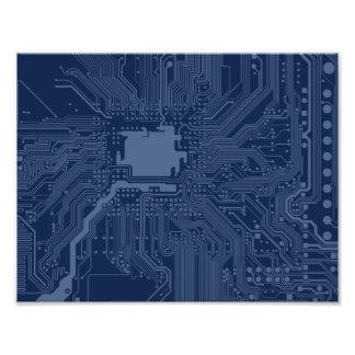 Blue Geek Motherboard Circuit Pattern Photographic Print