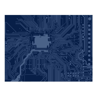 Blue Geek Motherboard Circuit Pattern Postcard