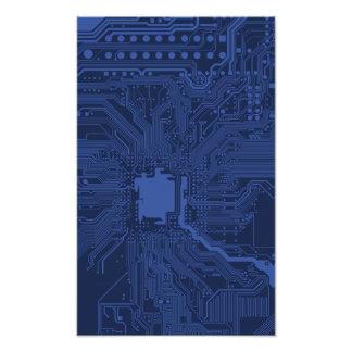 Blue Geek Motherboard Pattern Photographic Print