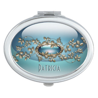 Blue Gem 2 Oval Compact Mirror personalized