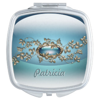 Blue Gem 2 Square Compact Mirror personalized
