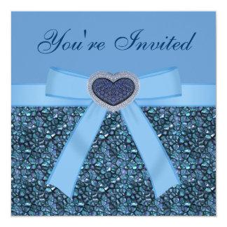 Blue Gem Stones, Bow & Heart Jewel Invites
