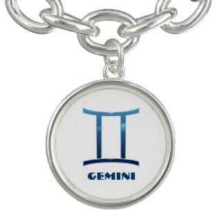 Blue Gemini Zodiac Signs On White