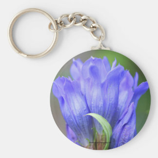 Blue Gentian Flower Photo Keychain Keyring