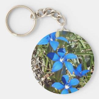 Blue gentian flowers keychain