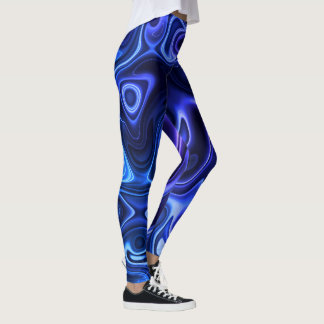 Blue Geode Abstract Pattern Leggings