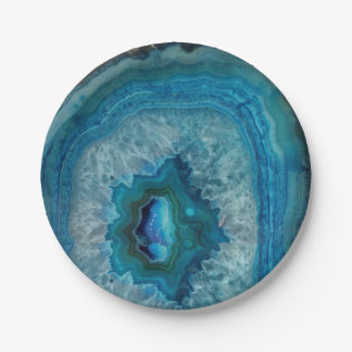 Blue Geode Rock Mineral Agate Crystal Image Paper Plate