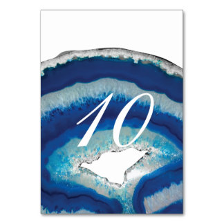 Blue Geode Table Number Table Cards
