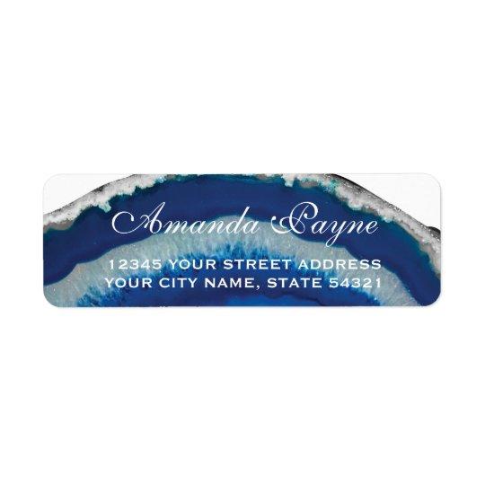 Blue Geode Wedding Return Address Label