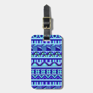 Blue Geometric Abstract Aztec Tribal Print Pattern Luggage Tag