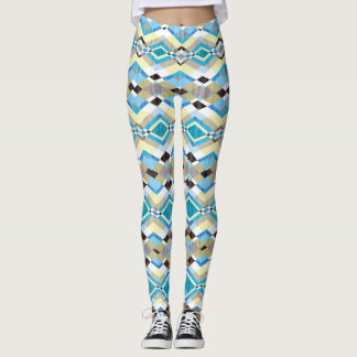 Blue Geometric Aztec Pattern Leggings