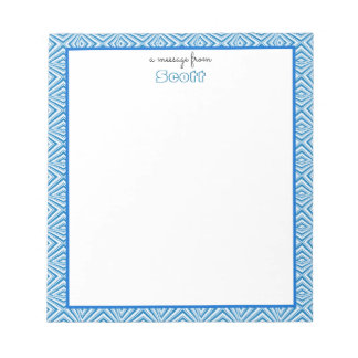 Blue Geometric Border with Monogram Notepad